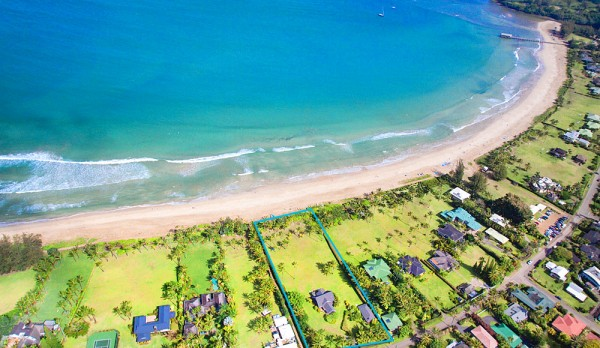 The Hanalei Faye House property as shown from above.