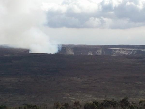 View of Halema'uma'u from Volcano House hotel