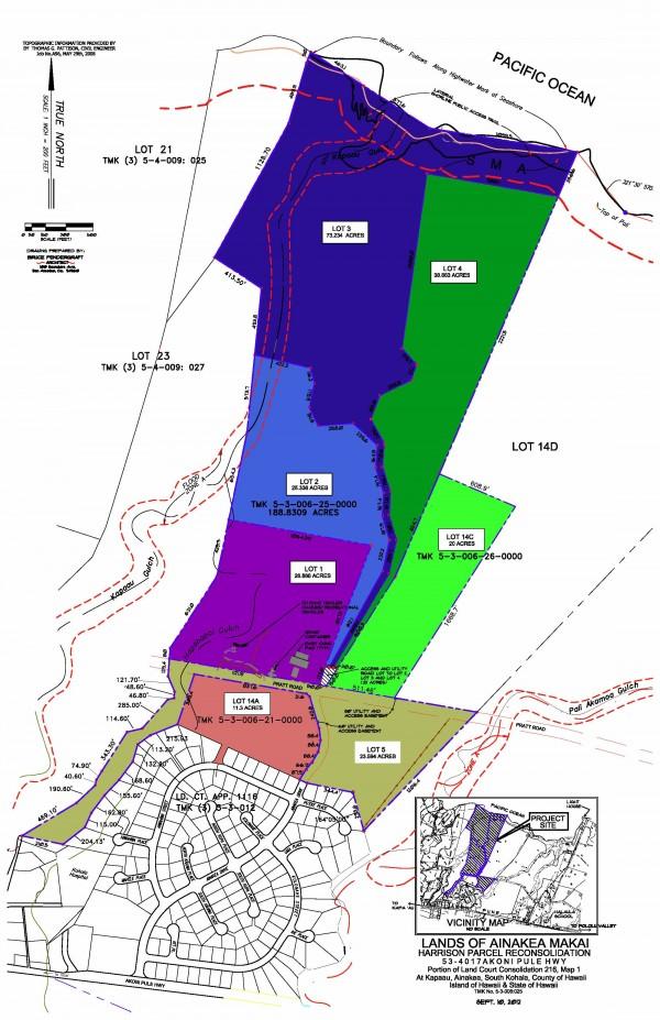 Oceanfront subdivision Ainakea Makai