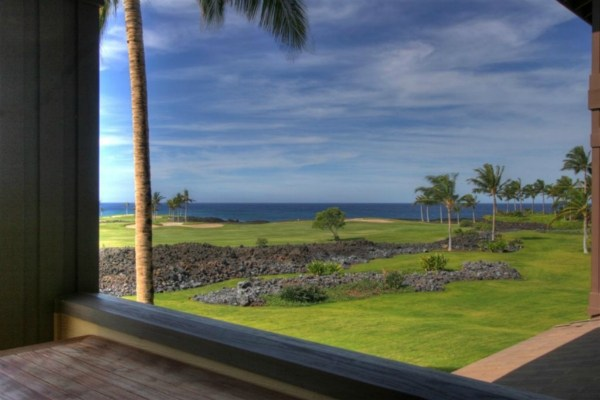View of ocean and golfcourse Halii Kai condo for sale