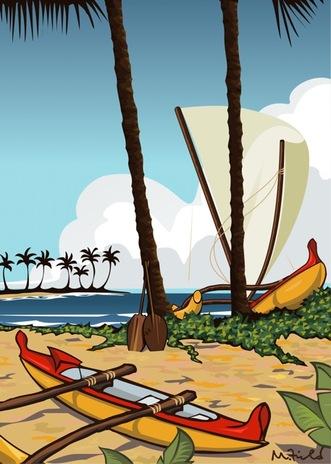 Kikaua Point, original art by Mike Field