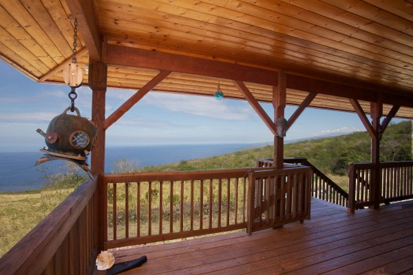 Lanai view of larger 'off grid' home.