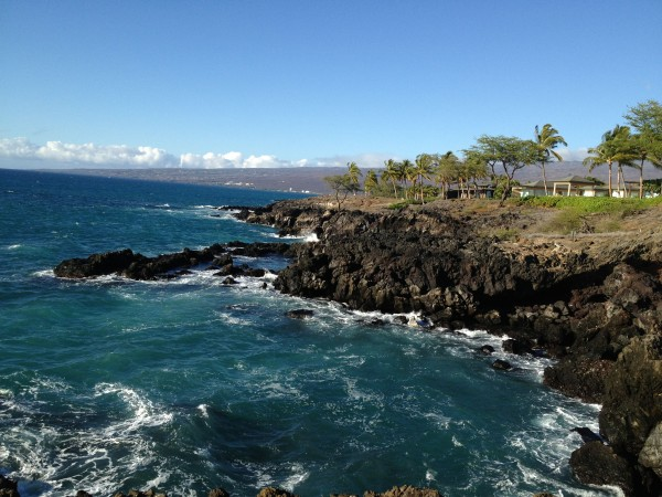 Oceanfront Trail in front of the Bluffs at Mauna Kea.