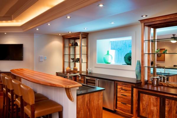 Game Room Window To Pool With Custom Surfboard Bar