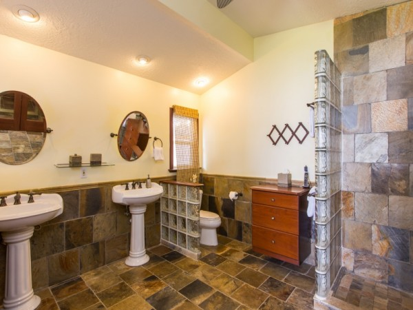 Granite floors and a walk in shower