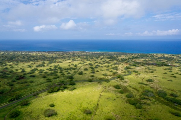 Puakea aerial showing green pastures