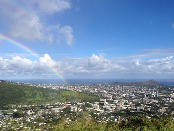 View from Tantalus and Makiki towards Diamond Head and Honolulu.  Honolulu is known for it's beautiful rainbows and Diamond Head.