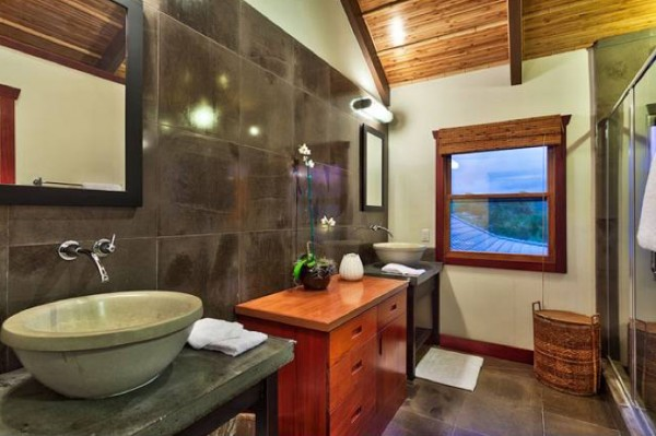 Fine tile, basin sink, and a view to boot