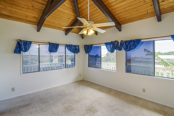Enjoy views of the Waimea countryside from the master bedroom