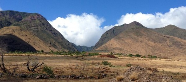 Looking up at the Olowalu Mauka Subdivision with West Maui mountains behind