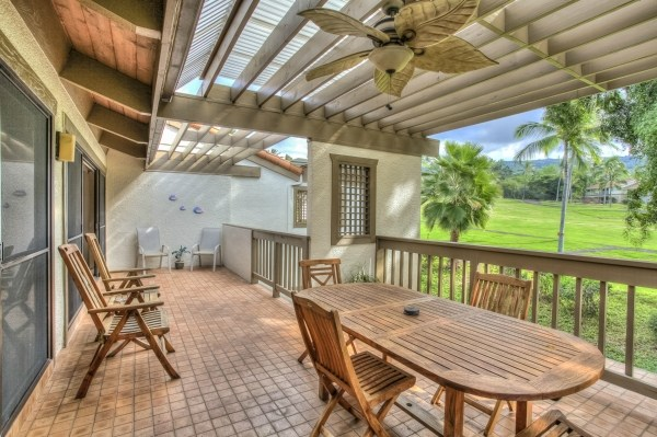 Covered lanai with great views of the golf course