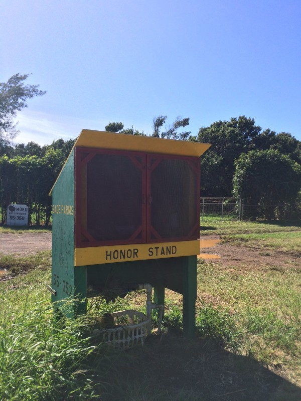 Honor stand at the beginning at Sage Farms.