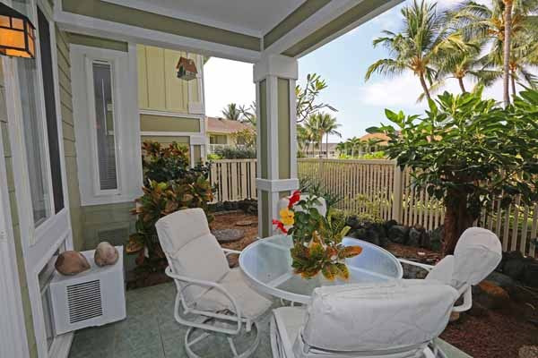 Lanai - partially tiled and nicely landscaped