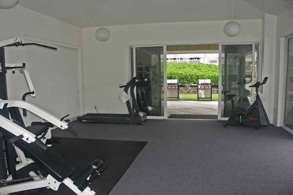 Work out room and barbeque area