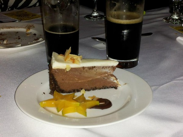 Chocolate cheesecake and coffee brew