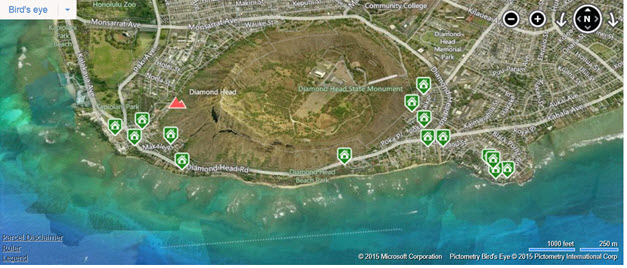 Map of active listings in Diamond Head