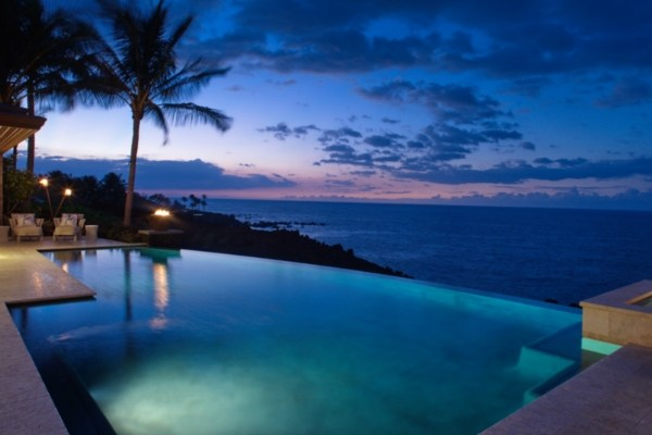 Sunset from 49 Black Sand Beach Oceanfront home for sale