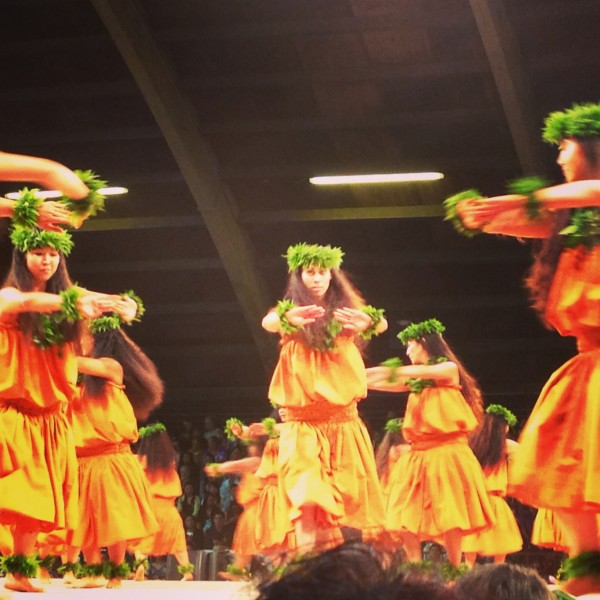 Merrie Monarch Hula Dancers on stage at the Edith Kanaka'ole Stadium in Hilo Hawaii