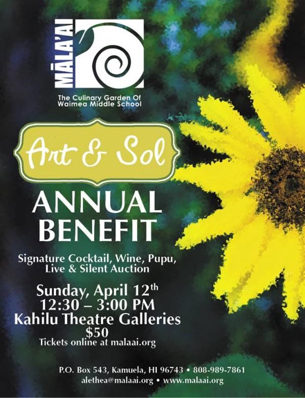 "Mala'ai Garden  ""Art & Sol"" Benefit Auction  This Sunday, April 12, 2015"