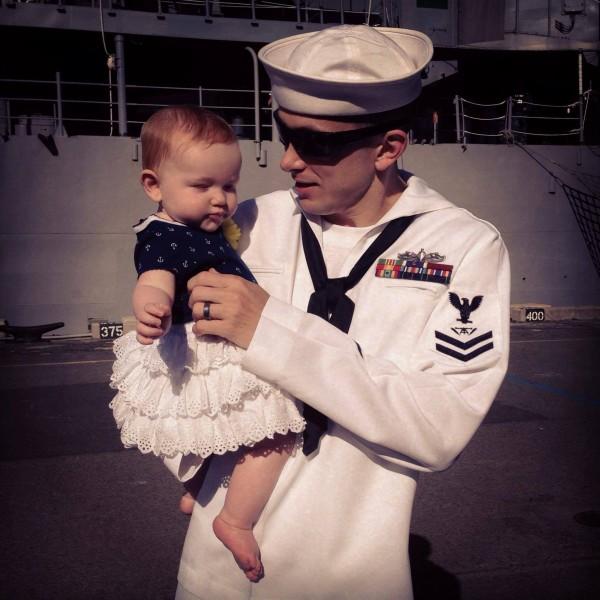 Nephew-in-Law and great-niece, pre-deployment US Navy, Pearl Harbor, HI 2013