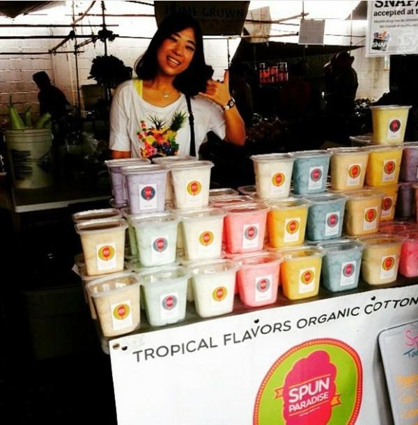 Spun Paradise ~ Tropical Flavors Organic Cotton Candy at Hilo Farmers Market
