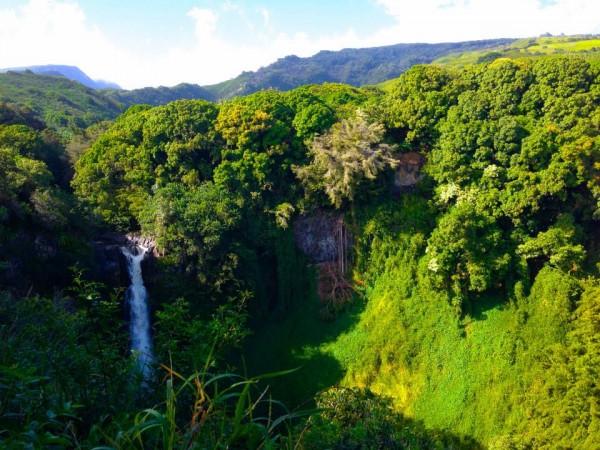Large Hana waterfall