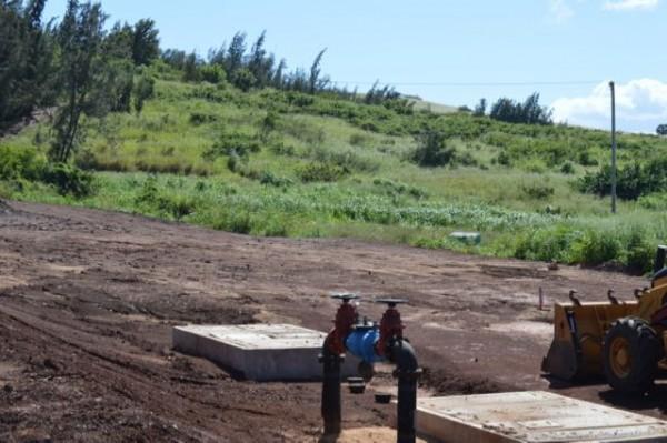 Technically ground has broken: Water lines being dug.