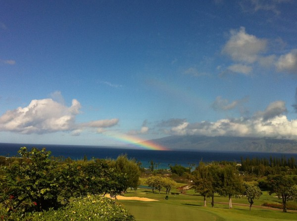 ocean view with rainbow
