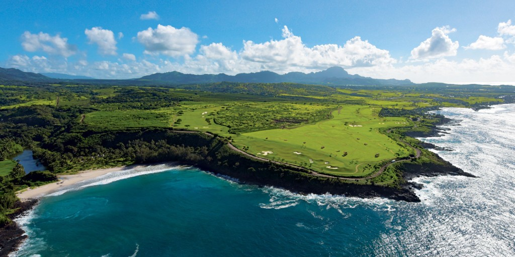Aerial view of Allerton's Beach, NTBG and Kukuiula Golf couse, South Kauai, Hawaii. Photo courtesy of Kukuiula