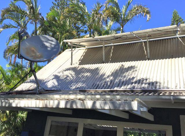 Solar panels and satellite dish