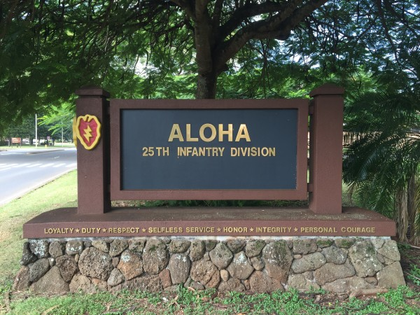 Sign on Schofield Barracks after entering Main Gate