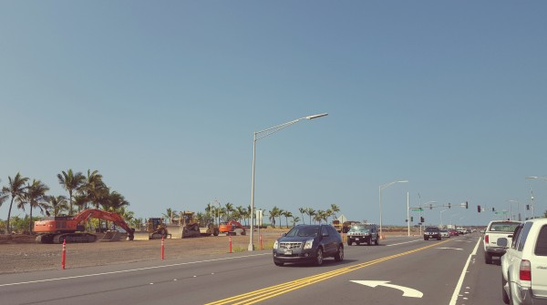Completed highway widening from 2007, and starting point of phase two (in front of Kona Honokohau Harbor).