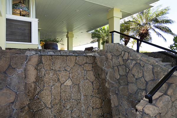 Waterfall and lava rock in architecture