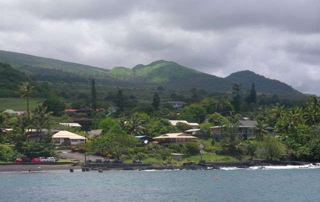 Hana town seen from Hana Bay