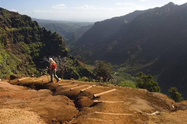 One woman hiking a Waimea Canyon trail, Hawaii.