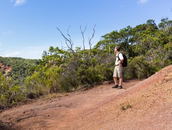 Awaawapuhi trail end on cliff above Na Pali coast Kauai