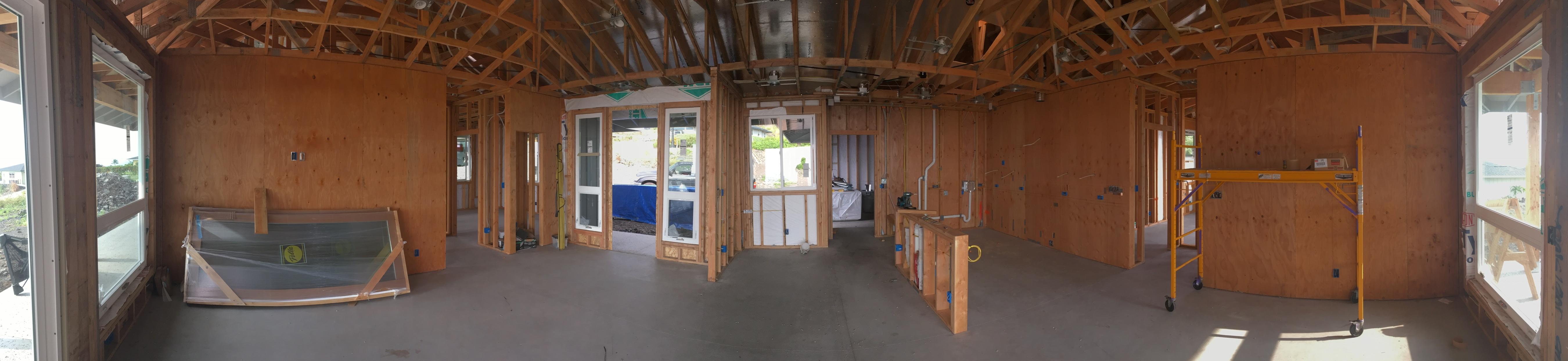 Interior of framed house.